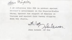25. John Lennon Returns His Mbe Medal To Protest